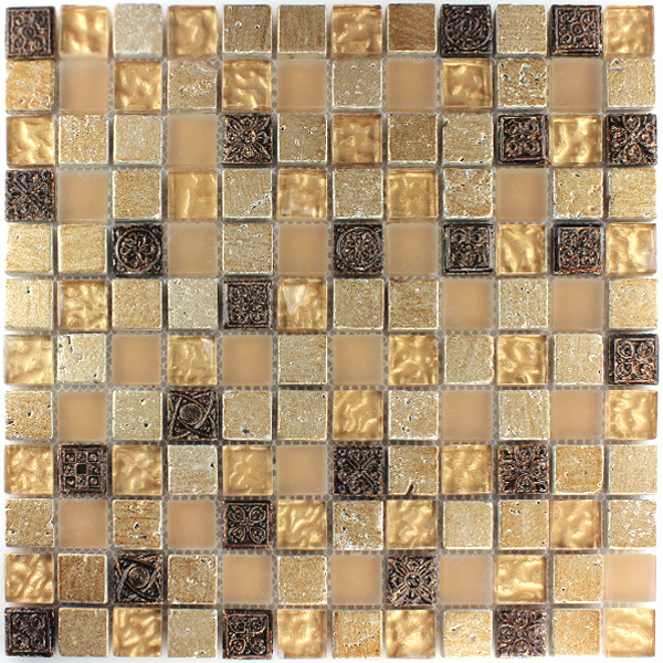 Glas naturstein mosaik fliesen beige mix 25x25x8mm ht88189m for Fliesen mosaik