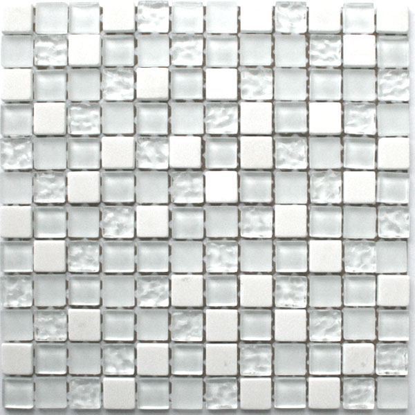 glas marmor mosaik fliesen 23x23x8mm weiss mix tg12009m. Black Bedroom Furniture Sets. Home Design Ideas