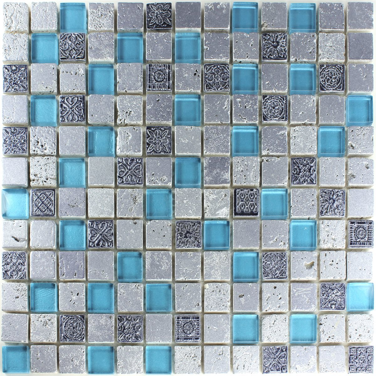 mosaik fliesen glas resin stein mix blau silber tm33162m. Black Bedroom Furniture Sets. Home Design Ideas