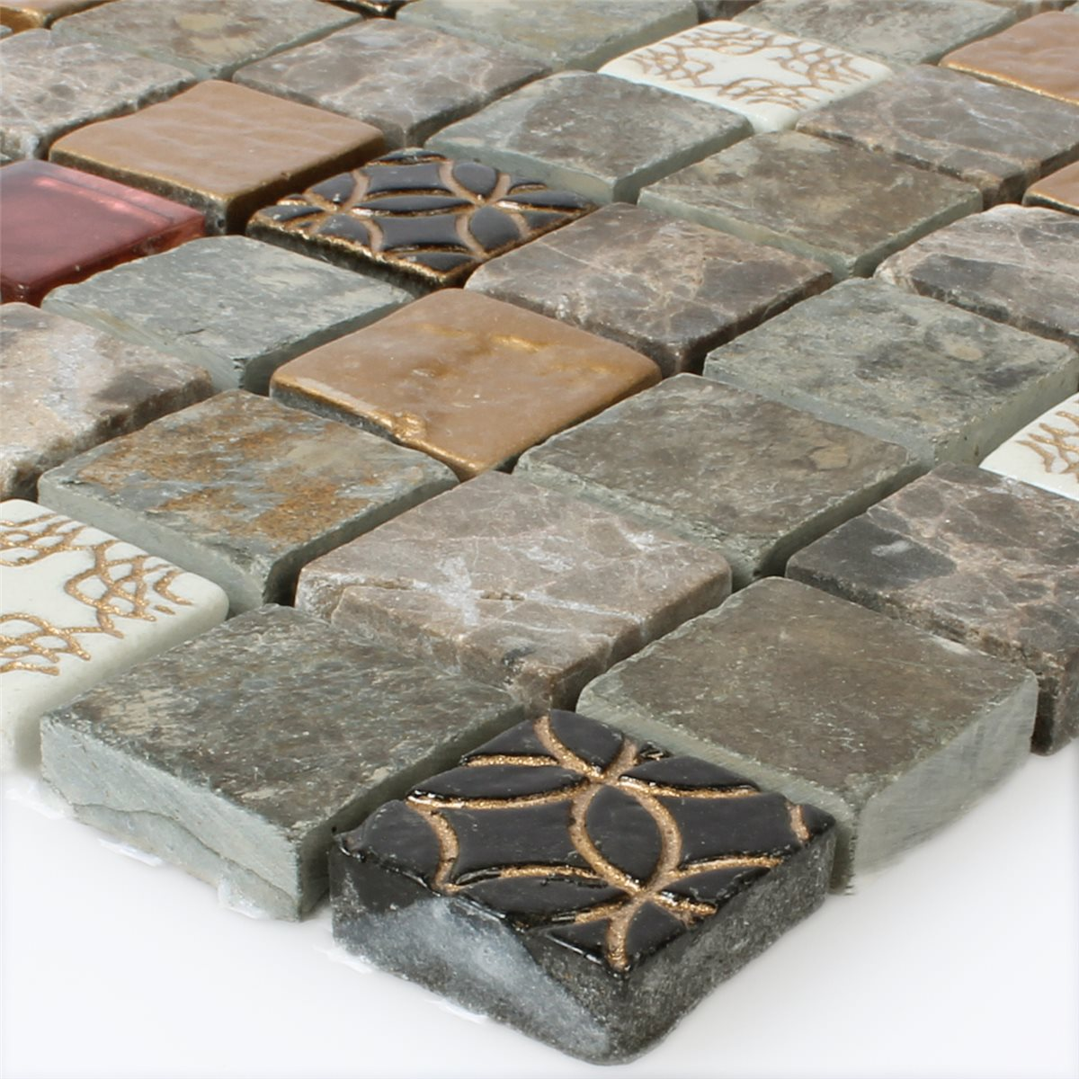 Glas naturstein mosaik fliesen mix 23x23x8mm ht88473m for Fliesen mosaik