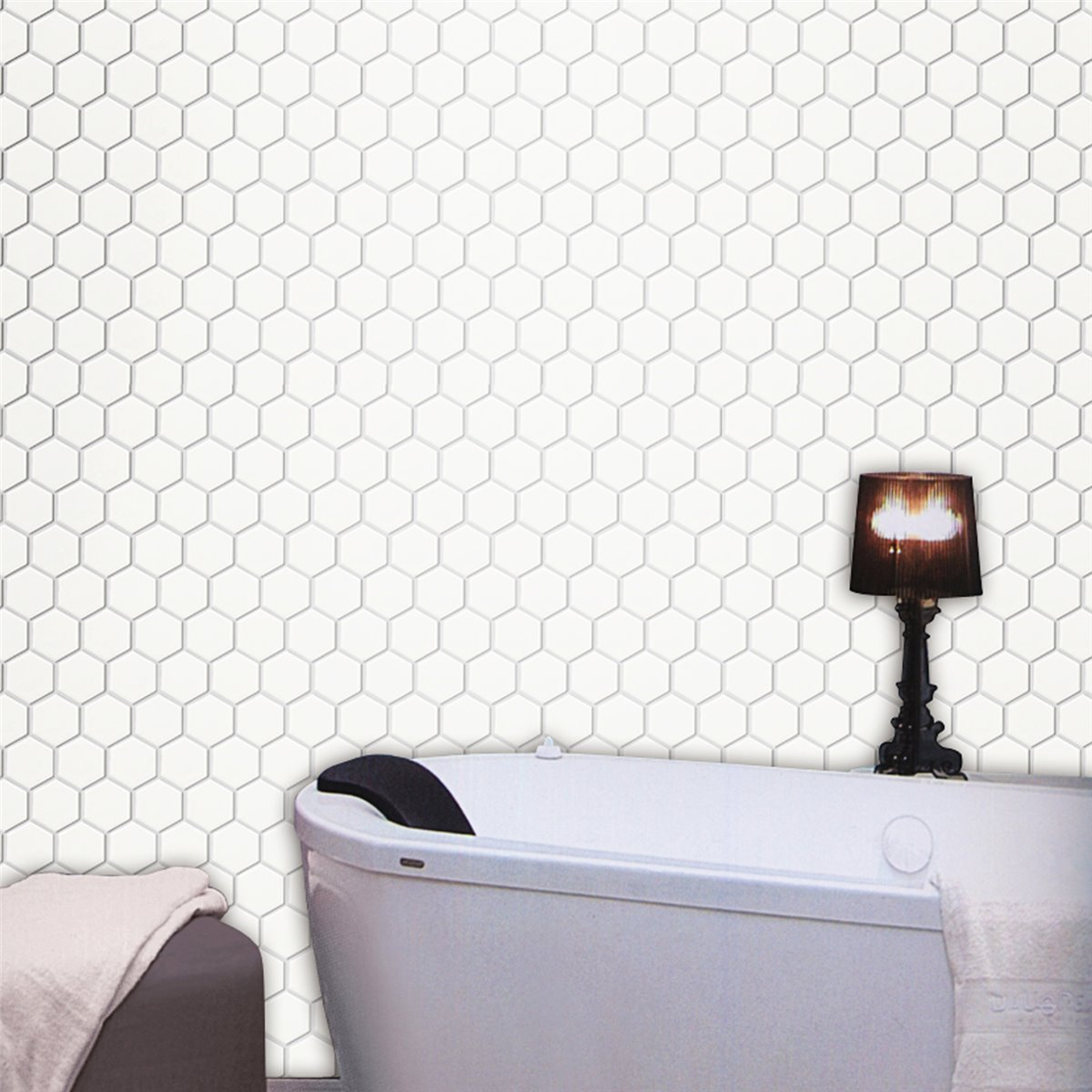 keramik mosaik fliesen hexagon weiss gl nzend tm33325. Black Bedroom Furniture Sets. Home Design Ideas