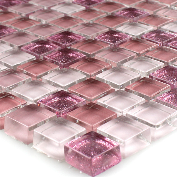 glasmosaik mosaik fliesen pink rosa glitzer mosaikfliesen 15x15x8mm ebay. Black Bedroom Furniture Sets. Home Design Ideas