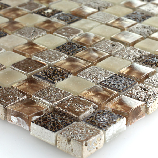 muster glas naturstein mosaik fliesen braun beige mix ebay. Black Bedroom Furniture Sets. Home Design Ideas