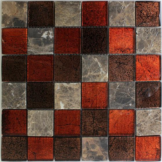 muster naturstein glas mosaik fliesen rot braun 48x48x8mm. Black Bedroom Furniture Sets. Home Design Ideas