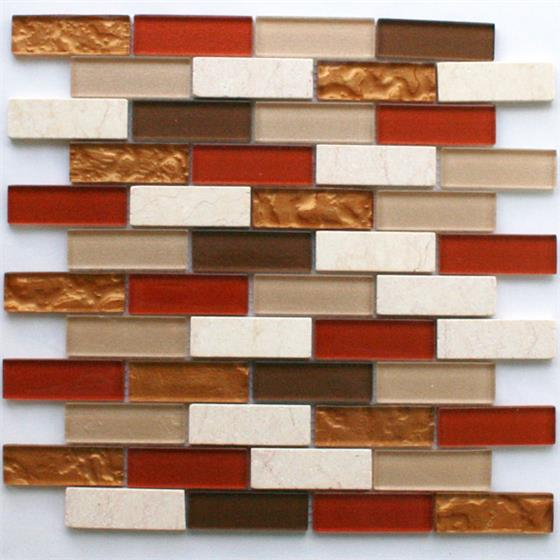 glas marmor mosaik fliesen 25x75x8mm rot mix. Black Bedroom Furniture Sets. Home Design Ideas