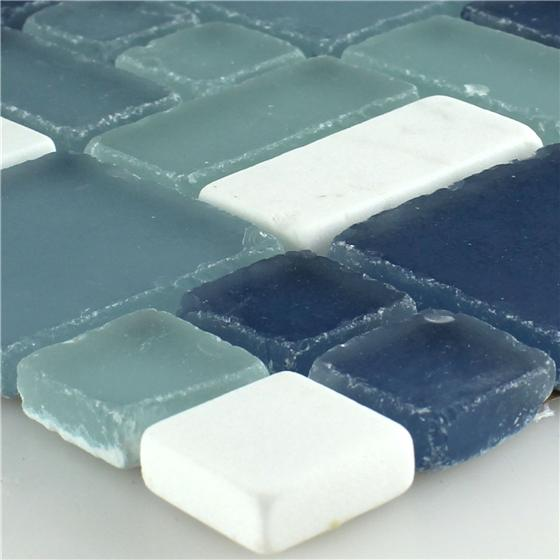 marmor glas mosaikfliesen blau weiss mix ebay. Black Bedroom Furniture Sets. Home Design Ideas
