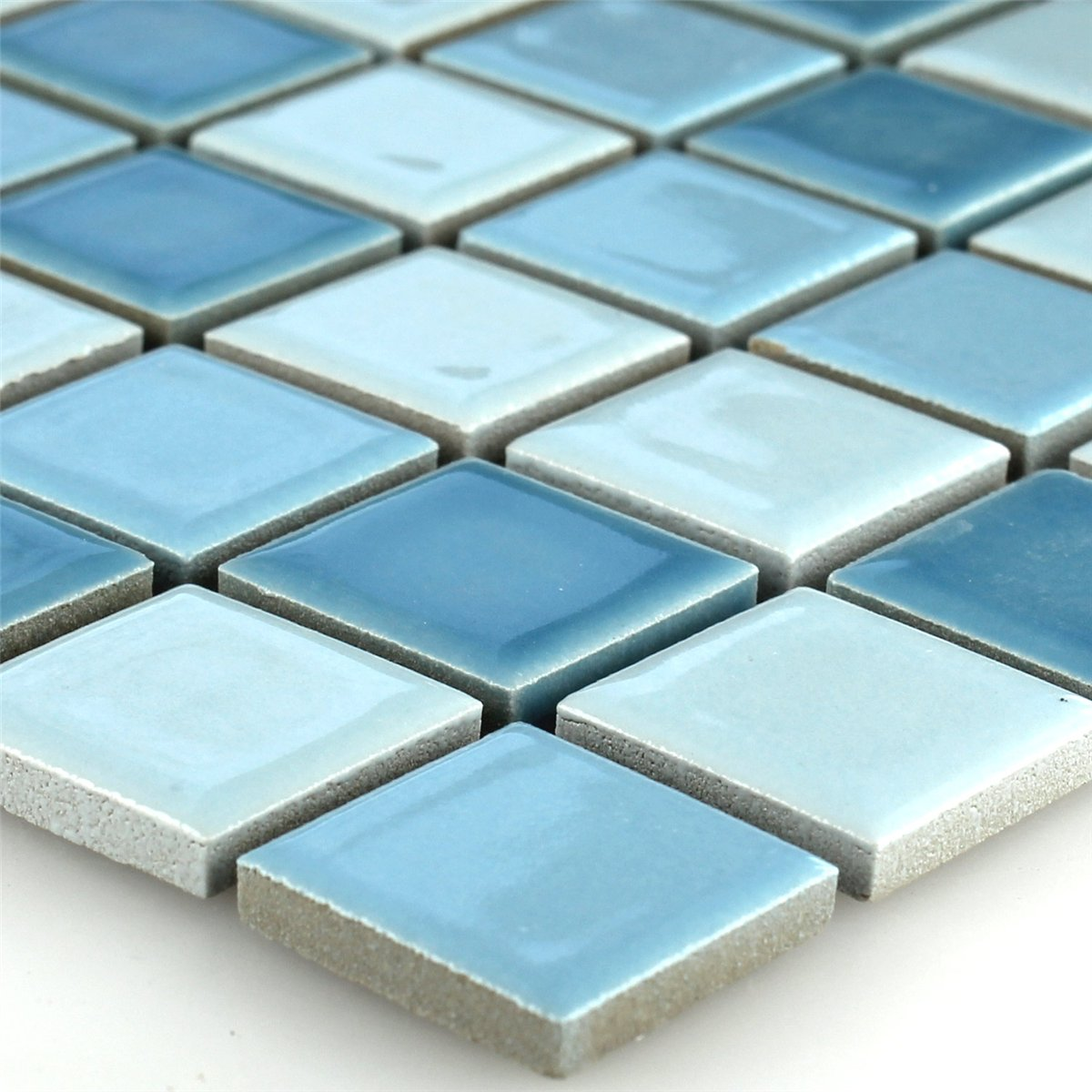 keramik mosaik fliesen mosaikfliese blau mix 25x25x5mm ebay. Black Bedroom Furniture Sets. Home Design Ideas