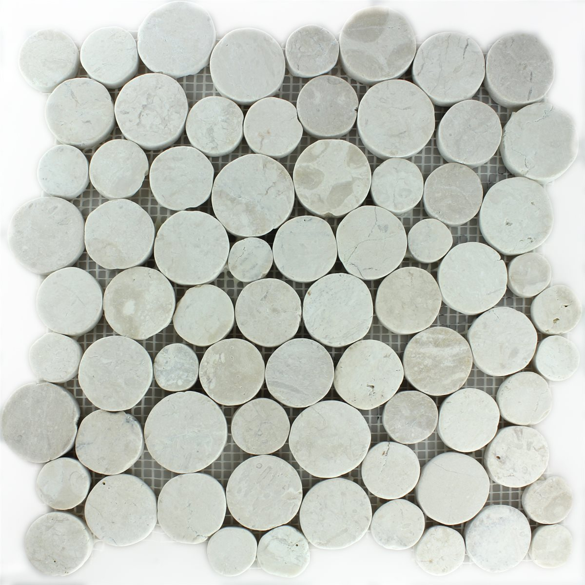 pebble stone mosaic tiles coin white ebay. Black Bedroom Furniture Sets. Home Design Ideas