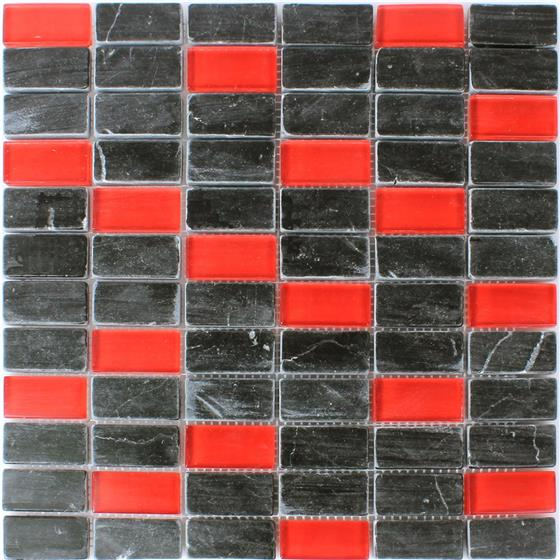 glas marmor mosaik fliesen 23x48x8mm schwarz rot ebay. Black Bedroom Furniture Sets. Home Design Ideas