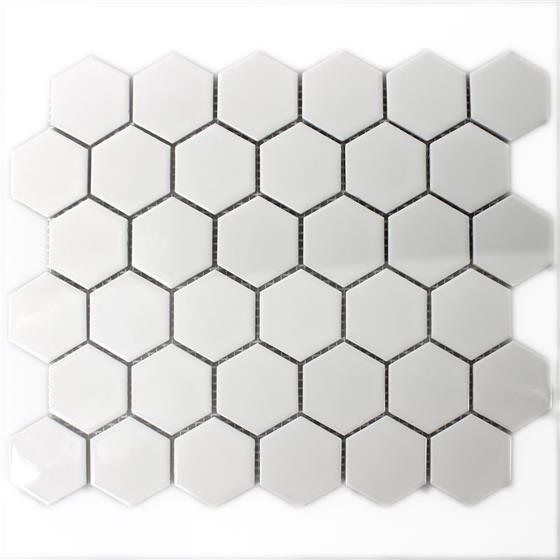 keramik mosaik fliesen hexagon weiss gl nzend ebay. Black Bedroom Furniture Sets. Home Design Ideas