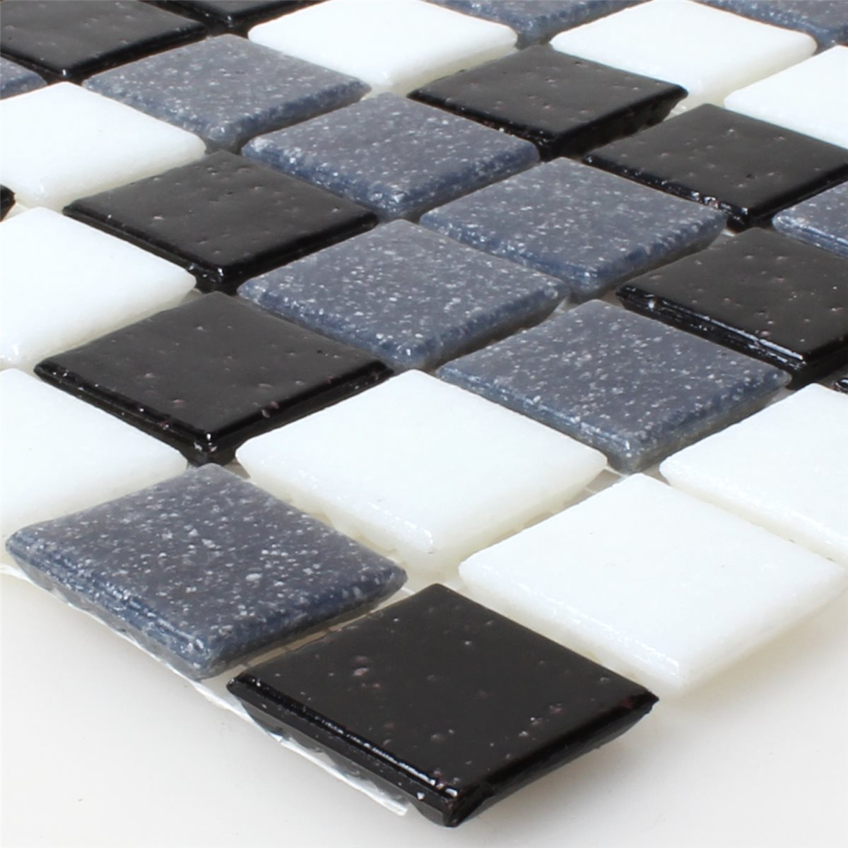 glas mosaikfliesen weiss grau schwarz mix ebay. Black Bedroom Furniture Sets. Home Design Ideas