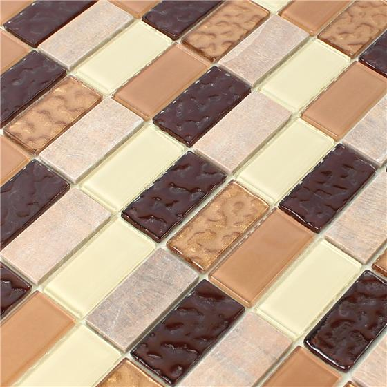 selbstklebende naturstein glas mosaik beige braun brick ebay. Black Bedroom Furniture Sets. Home Design Ideas