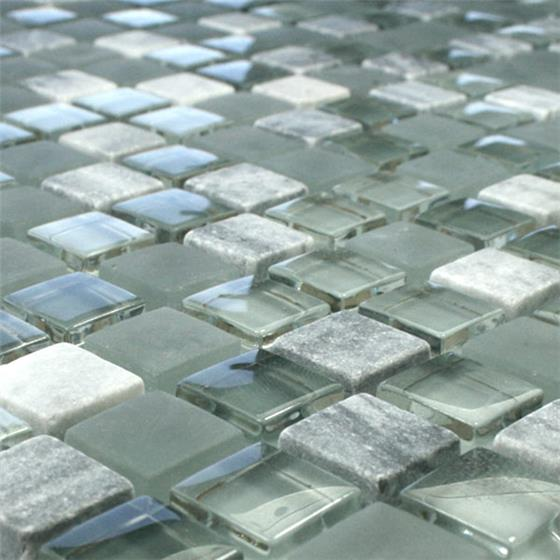 glas marmor mosaik fliesen 15x15x8mm grau mix ebay. Black Bedroom Furniture Sets. Home Design Ideas