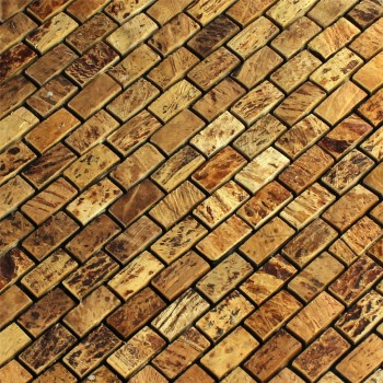 Mosaikfliesen Kokosnuss Natur Walnut 10x20x8mm