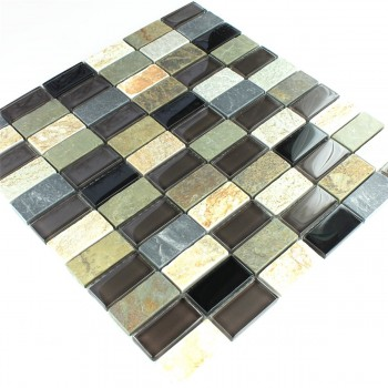 Glas Marmor Mosaik Fliese Braun Mix 25x50x8mm
