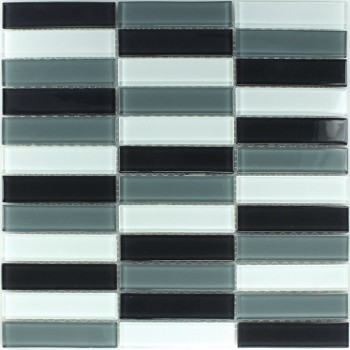 Glasmosaik Fliese Schwarz Grau Mix 25x100x4mm