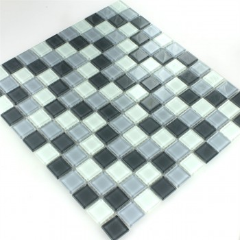 Glasmosaik Fliesen Grau Mix 25x25x4mm