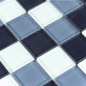 Mosaikfliesen Glas Superweiss Blau Mix