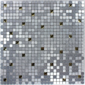 Glasmosaik Metall Mosaik Silber Gold Diamant 10x10x4mm