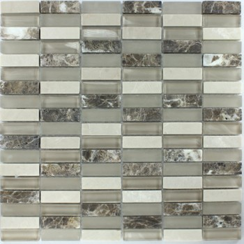Mosaikfliesen Glas Marmor 15x48x8mm Braun Beige Mix Sticks