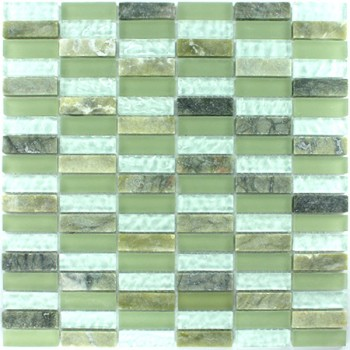 Mosaikfliesen Glas Marmor 15x48x8mm Grün Mix Sticks