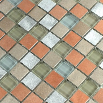 Mosaikfliesen Glas Aluminium Metall Orange Silber Mix