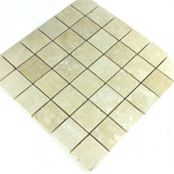 Mosaikfliesen Travertin Beige Gespachtelt 48x48x10mm