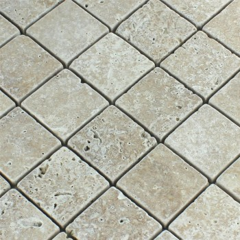 Mosaikfliesen Travertin Noce Getrommelt 48x48x10mm