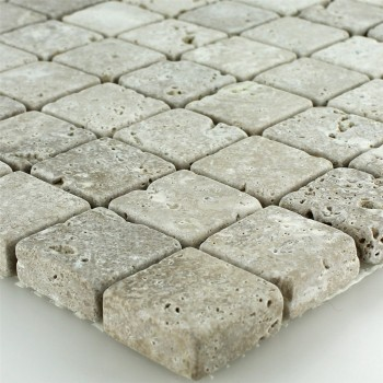 Mosaikfliesen Travertin Noce Getrommelt 26x26x10mm