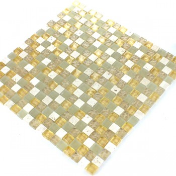 Mosaikfliesen Glas Marmor Gold Mix 15x15x8mm