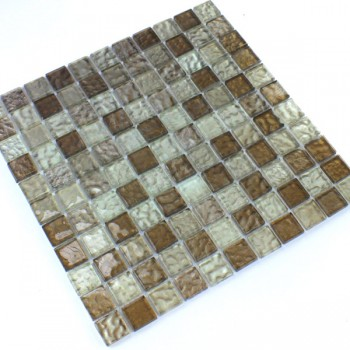 Glasmosaik 25x25x6mm Bernstein Braun Mix