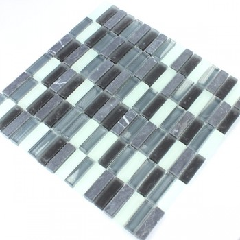 Mosaikfliesen Glas Marmor Sticks Grau Mix Elenor