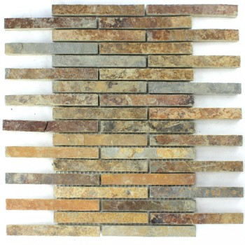 Quarzit Naturstein Mosaik Multi Color Bunt Mix Stick