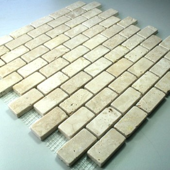 Travertin Mosaik Fliesen Beige 23x48x10mm