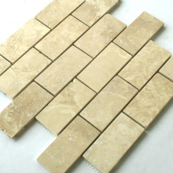 Mosaikfliesen Travertin 98x48x10mm Beige