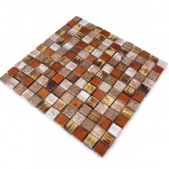 Mosaikfliesen Naturstein Ornament Beige Orange