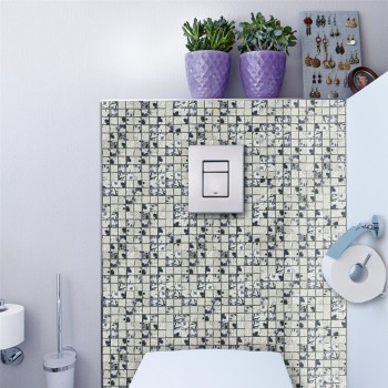 Keramik Mosaik Fliesen Strawberry Weiss Blau