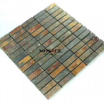 Mosaikfliesen Schiefer Rust 15x48x10mm