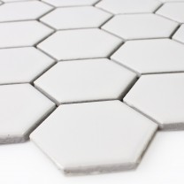 Mosaikfliesen Keramik Hexagon Weiss Matt