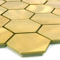 Mosaikfliesen Aluminium Manhatten Hexagon Gold