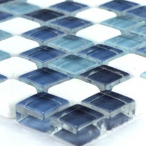 Mosaikfliesen Glas Marmor Blue Mix 15x15x8mm