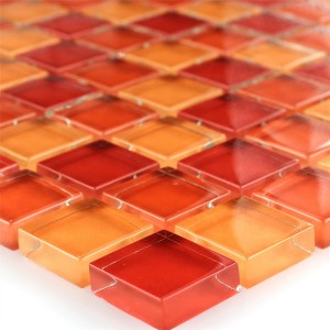 MUSTER Glas Mosaik Fliesen 23x23x8mm Orange Beige