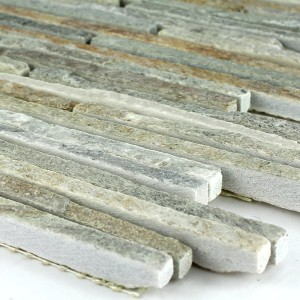 Mosaikfliesen Quarzit Naturstein Beige Mix Stripes