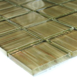 Glasmosaik 48x48x8mm Pastelgrün Gold Metall
