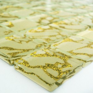 MUSTER Glasmosaik Fliesen 25x25x4mm Tempel Gold