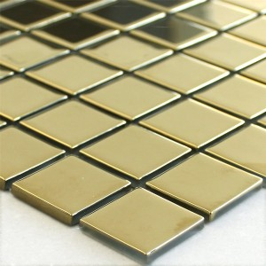 Glasmosaik Fliesen Gold Uni 25x25x4mm