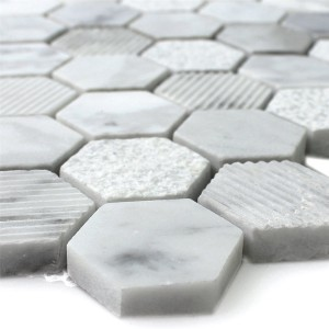 Mosaikfliesen Hexagon Naturstein Carrara Weiss