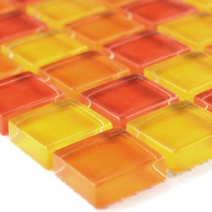 Glasmosaik Fliesen Gelb Orange Rot 25x25x8mm