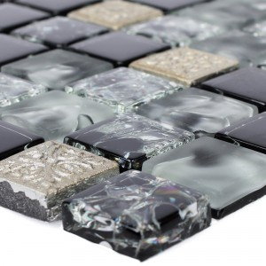 Glas Resin Mosaikfliesen Bogardus Schwarz Mix
