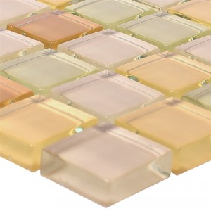 Glasmosaik Fliesen 23x23x8mm Beige Mix